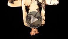 Unsere attraktive Luftakrobatin bewegt sich an ihrem Kronleuchter grazil in ihren schönen Outfits hoch in die Luft